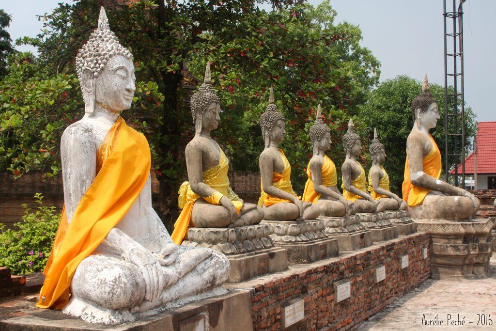 Allée de bouddhas à Ayutthaya - Thaïlande