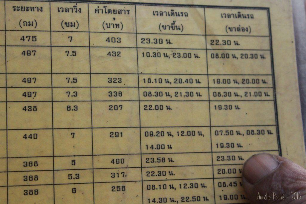 Horaire des bus au départ d'Ayutthaya - Thaïlande
