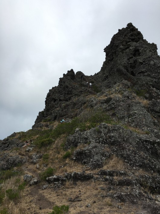 Vue sur l'arrivée au sommet - île Maurice (Morne Brabant)