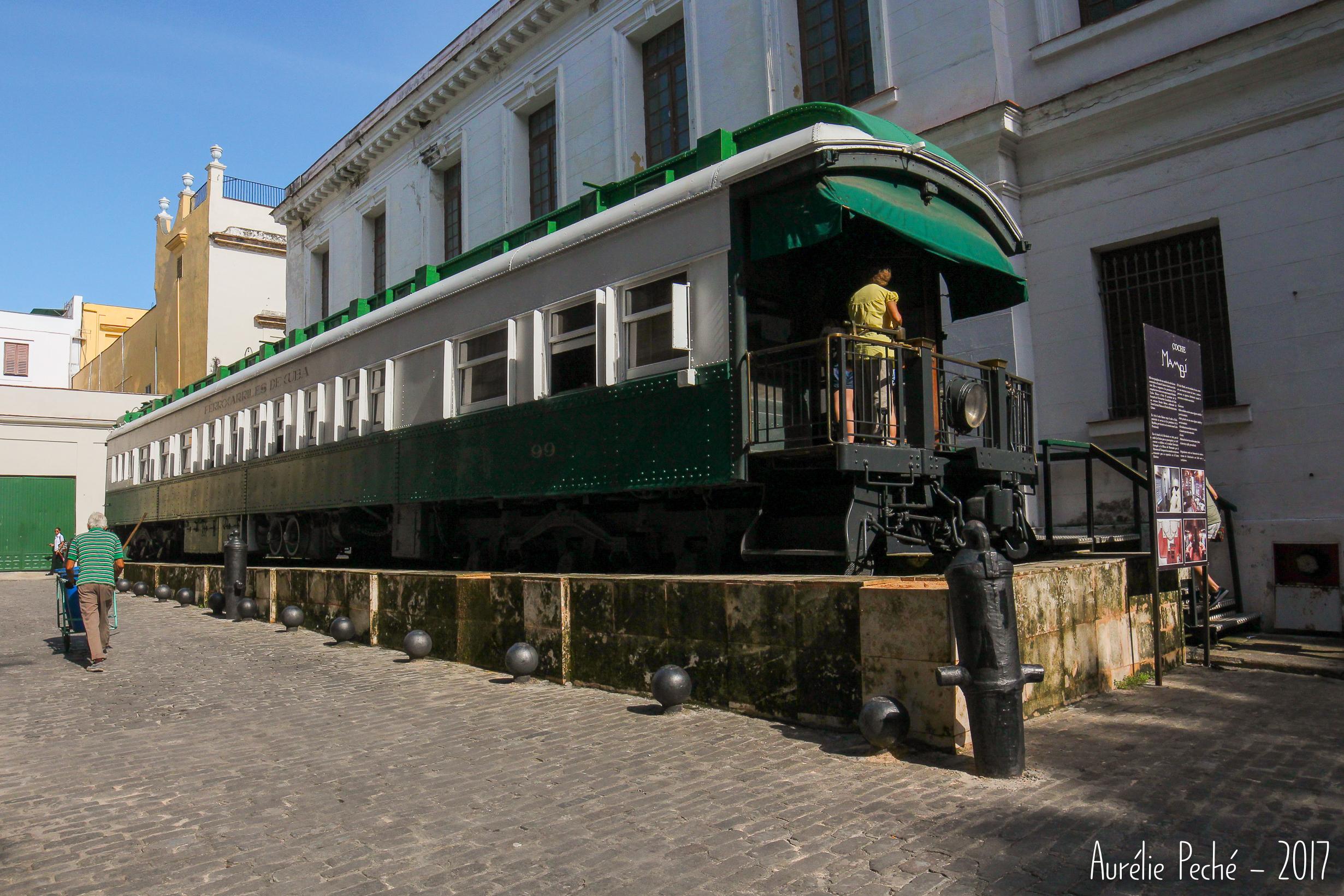 L'ancien wagon présidentiel Coche Mambi, aujourd'hui mini musée en accès libre.
