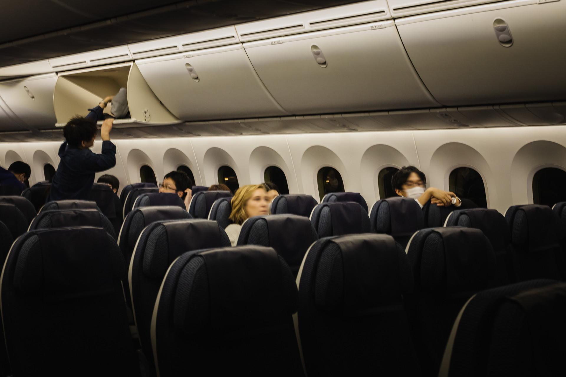 L'avion presque vide en direction du Japon