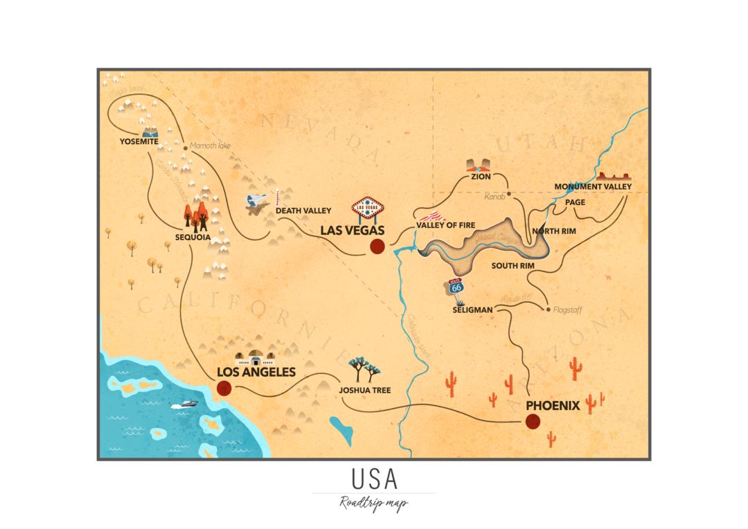 Carte de mon road trip aux USA