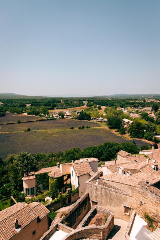 Vue depuis les terrasses du château de Grignan. On peut voir une partie du village en contrebas et des champs de lavande en fleur. Plus loin, on aperçoit des forêt et collines.